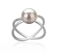 8-9mm AAA Quality Freshwater Cultured Pearl Ring in Esty White