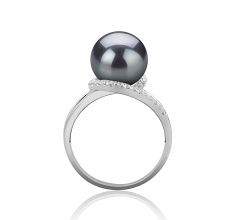 9-10mm AAA Quality Tahitian Cultured Pearl Ring in Royisal Black