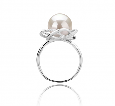 9-10mm AAAA Quality Freshwater Cultured Pearl Ring in Bobbie White