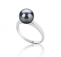8-9mm AAAA Quality Freshwater Cultured Pearl Ring in Mada Black