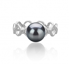 7-8mm AAAA Quality Freshwater Cultured Pearl Ring in Wave Black