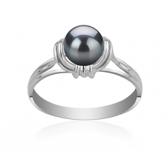 6-7mm AAAA Quality Freshwater Cultured Pearl Ring in Joy Black