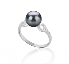 8-9mm AAAA Quality Freshwater Cultured Pearl Ring in Eunice Black
