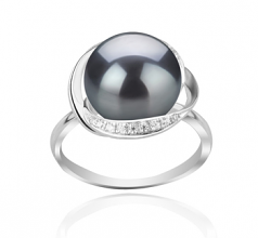 11-12mm AAA Quality Freshwater Cultured Pearl Ring in Wendy Black