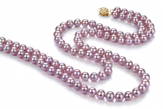 6-6.5mm AA Quality Freshwater Cultured Pearl Necklace in Vanessa Lavender