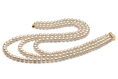 6-7mm AA Quality Freshwater Cultured Pearl Set in Lucille White