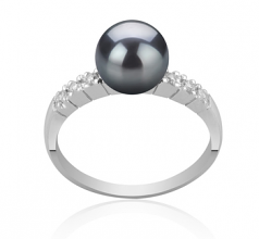 7-8mm AAA Quality Japanese Akoya Cultured Pearl Ring in Marian Black