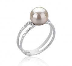 8-9mm AAA Quality Japanese Akoya Cultured Pearl Ring in Rahara White