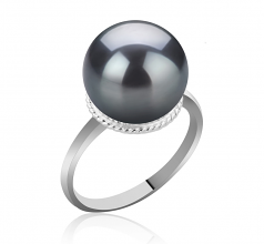 10-11mm AAA Quality Tahitian Cultured Pearl Ring in Tindra Black