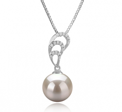 10-11mm AAAA Quality Freshwater Cultured Pearl Pendant in Camille White