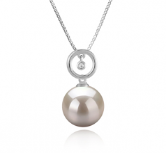 10-11mm AAAA Quality Freshwater Cultured Pearl Pendant in Aurora White