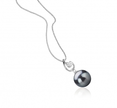 10-11mm AAA Quality Tahitian Cultured Pearl Pendant in Femke Black