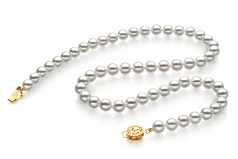 7-7.5mm Hanadama - AAAA Quality Japanese Akoya Cultured Pearl Necklace in Hanadama 18-inch White