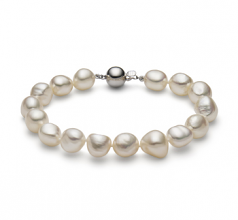 10-11mm Baroque Quality Freshwater Cultured Pearl Bracelet in Baroque Drop White