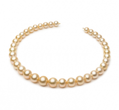 9.3-13.2mm AA+ Quality South Sea Cultured Pearl Necklace in 18-inch Gold