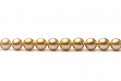 9.5-11.9mm AA Quality South Sea Cultured Pearl Necklace in 18-inch Gold
