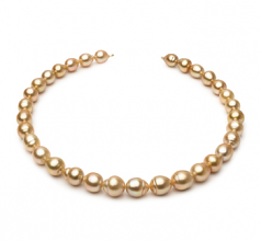 10.1-12.5mm Baroque Quality South Sea Cultured Pearl Necklace in 18-inch Gold