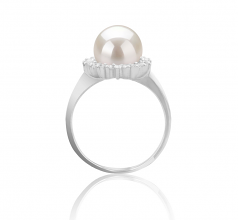 8-9mm AAAA Quality Freshwater Cultured Pearl Ring in Dreama White