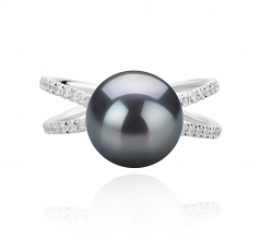 9-10mm AAA Quality Tahitian Cultured Pearl Ring in Zana Black