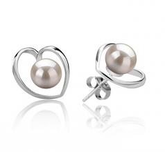 6-7mm AAAA Quality Freshwater Cultured Pearl Earring Pair in Winna-Heart White