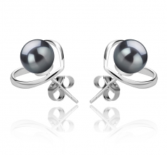 6-7mm AAAA Quality Freshwater Cultured Pearl Earring Pair in Winna-Heart Black