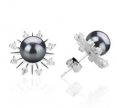 7-8mm AAAA Quality Freshwater Cultured Pearl Earring Pair in Natasha Black