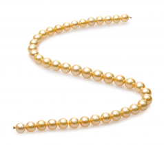 9-11.4mm AA Quality South Sea Cultured Pearl Necklace in 18-inch Gold
