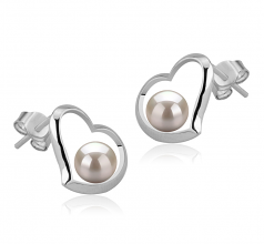 5-6mm AAAA Quality Freshwater Cultured Pearl Earring Pair in Nadira White