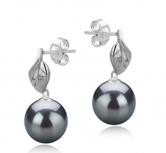 8-9mm AAAA Quality Freshwater Cultured Pearl Earring Pair in Leaf Black