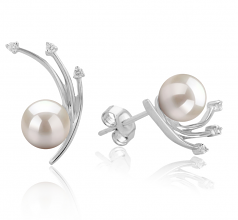 6-7mm AA Quality Japanese Akoya Cultured Pearl Earring Pair in Rosie White