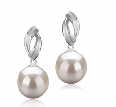 9-10mm AAAA Quality Freshwater Cultured Pearl Earring Pair in Shamara White