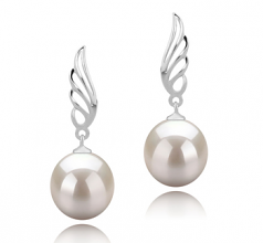 9-10mm AAAA Quality Freshwater Cultured Pearl Earring Pair in Wing White