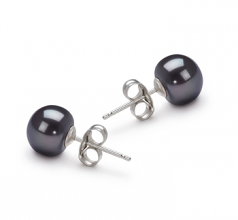 7-8mm AA Quality Freshwater Cultured Pearl Earring Pair in Black