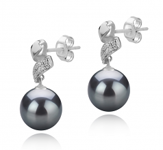 9-10mm AAA Quality Tahitian Cultured Pearl Earring Pair in Blair Black