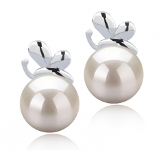 7-8mm AA Quality Japanese Akoya Cultured Pearl Earring Pair in Marsha White