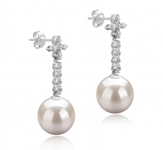 10-11mm AAAA Quality Freshwater Cultured Pearl Earring Pair in Raquel White
