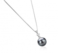 8-9mm AA Quality Japanese Akoya Cultured Pearl Pendant in Ellice Black