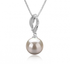 9-10mm AAAA Quality Freshwater Cultured Pearl Pendant in Shamara White