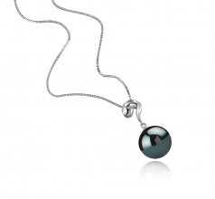 11-12mm AAA Quality Tahitian Cultured Pearl Pendant in Lorna Black