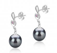 9-10mm AAA Quality Tahitian Cultured Pearl Earring Pair in Cheryl Black