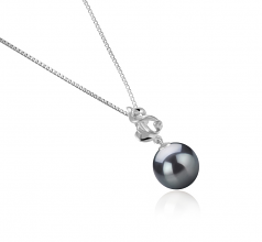 10-11mm AAA Quality Tahitian Cultured Pearl Pendant in Niamh Black