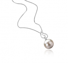 10-11mm AAAA Quality Freshwater Cultured Pearl Pendant in Belinda White