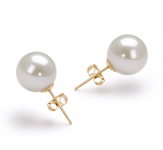 10-11mm AAAA Quality Freshwater Cultured Pearl Earring Pair in White