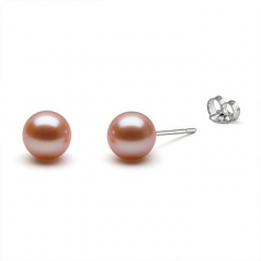 10-11mm AAAA Quality Freshwater Cultured Pearl Earring Pair in Pink
