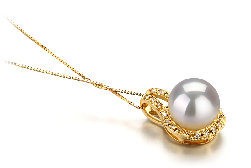10-11mm AAA Quality South Sea Cultured Pearl Pendant in Angelique White