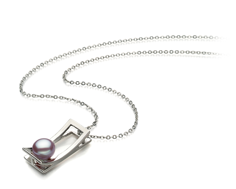Athena Lavender 7-8mm AA Quality Freshwater White Bronze Pearl Pendant
