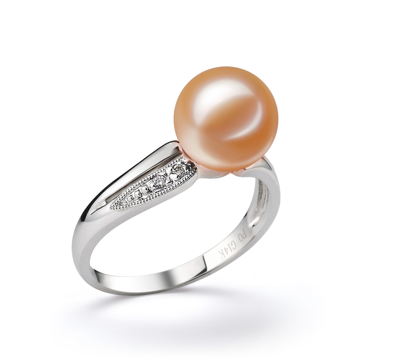 9-10mm AAAA Quality Freshwater Cultured Pearl Ring in Caroline Pink