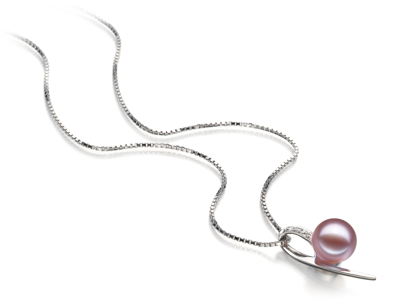 7-8mm AAAA Quality Freshwater Cultured Pearl Pendant in Destina Lavender