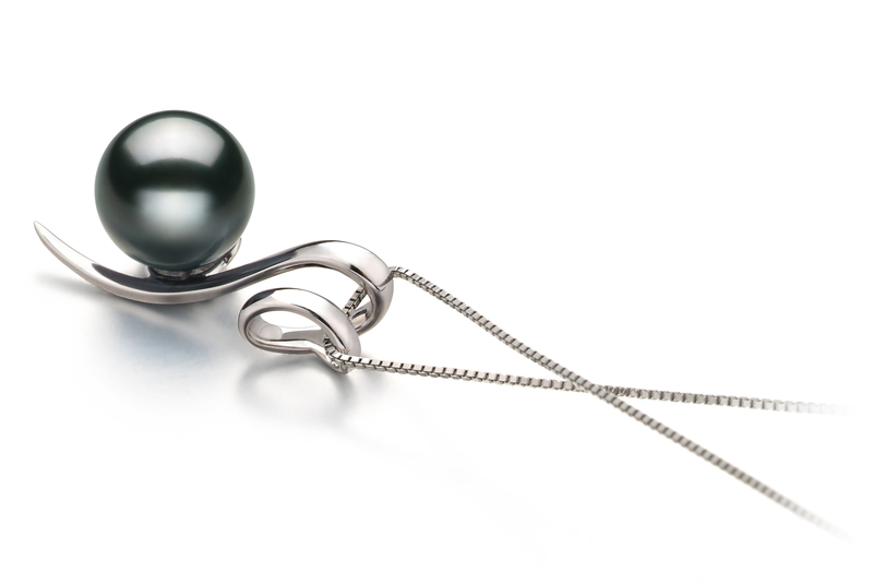 8-9mm AAA Quality Tahitian Cultured Pearl Pendant in Dionne Black