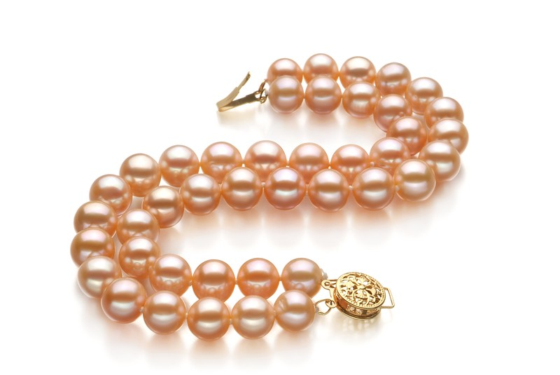 7-8mm AA Quality Freshwater Cultured Pearl Bracelet in Double Strand Pink